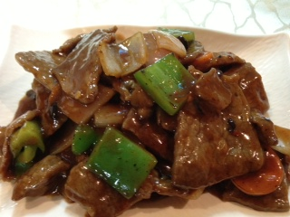 Chinese Restaurant Malta Beef with Green Peppers in Black Bean Sauce